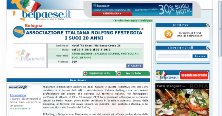 Associazione Italiana Rolfing festeggia i suoi 20 anni