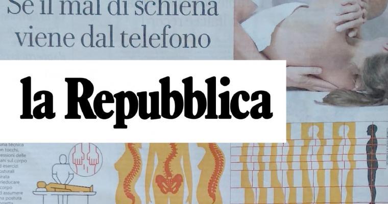 Se il mal di schiena viene dal telefono - Articolo su La Repubblica - Settembre 2019